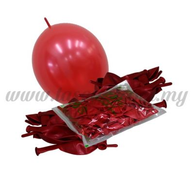 12inch Metallic Link Balloons - Red 100pcs (B-12MRL-M3)
