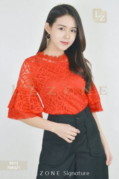 6913 PLUS SIZE LACE OVERLAY BLOUSE