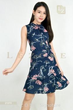 21272 SATIN FLORAL DRESS【1ST 10% 2ND 15% 3RD 20%】