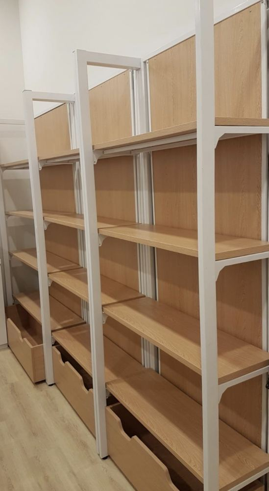 Wall multi display rack with drawer