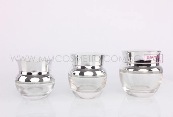 Glass Pump Container-Silver