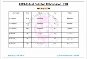 2019 SK Timetable