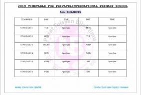2019 Private & International Primary School Timetable