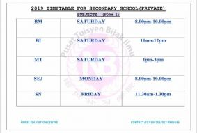 2019 Private & International Secondary School Timetable