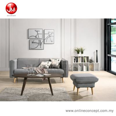 JM Concept Flory Sofa Set + Coffee Table (3 Seater + Stool + CT) Free 2 Pillow