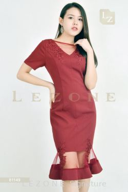 81149 PLUS SIZE RUFFLE LACE MIDI DRESS【MEMBER SALE 45% NON-MEMBER SALE 35%】