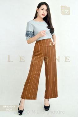 5626 GROMMET STRIPED CULOTTES 【BUY 2 FREE 3】