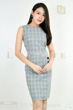 634211 PLAID SLEEVELESS DRESS【1ST 10% 2ND 15% 3RD 20%】