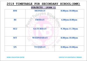 2019 Secondary School Timetable (SMK)