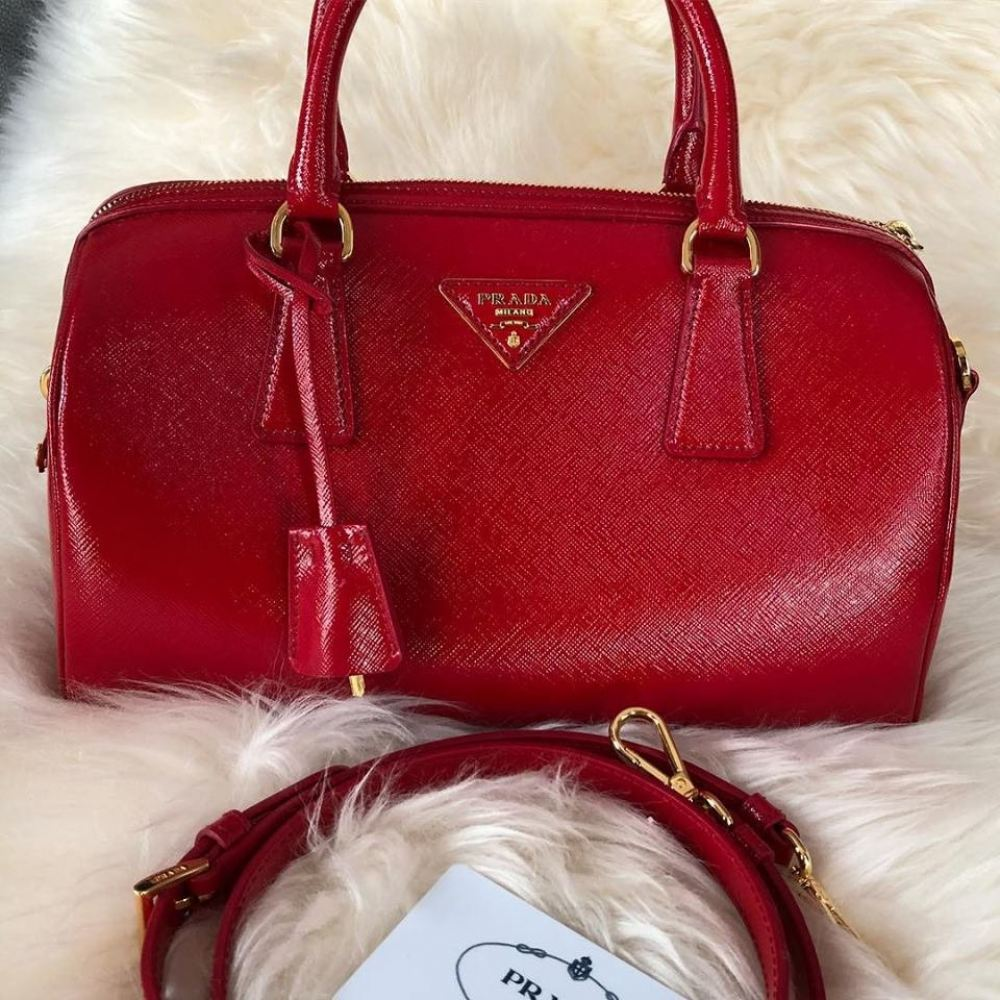 Prada BL0979 Saffiano Vernic Leather in Rosso with Leather Strap Prada Kuala Lumpur, KL, Selangor, Malaysia. Supplier, Retailer, Supplies, Supply | The Luxury Brand