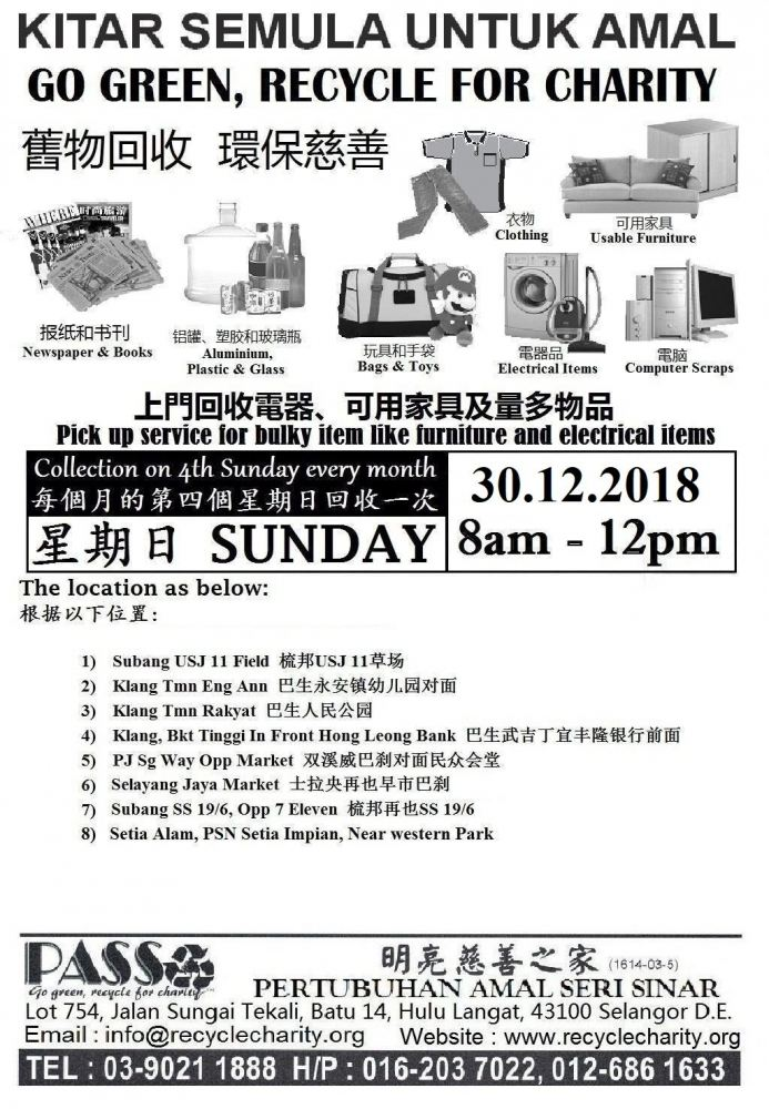 30.12.2018 Sunday Pertubuhan Amal Seri Sinar Drop off Points