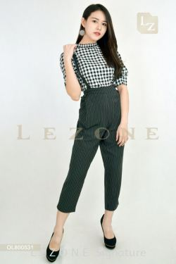 OL800531 LEANN PLAID STRIPED JUMPSUIT