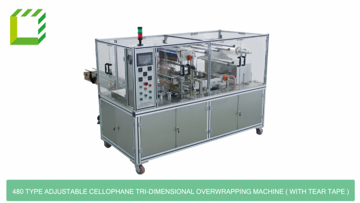 480 Type Adjustable Cellophane Tri-dimensional Overwrapping Machine ( With Tear Tape )