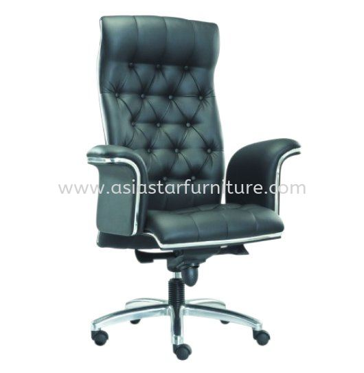 MD DIRECTOR OFFICE HIGH BACK LEATHER CHAIR C/W CHROME TRIMMING LINE
