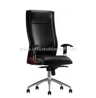DR4 DIRECTOR MEDIUM BACK LEATHER CHAIR WITH ALUMINIUM BASE
