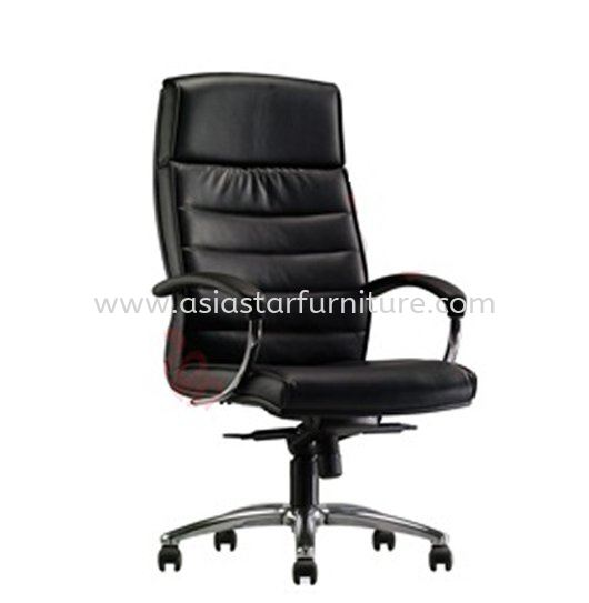 DR3 DIRECTOR HIGH BACK LEATHER CHAIR WITH ALUMINIUM BASE