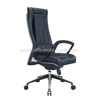 JESSI II DIRECTOR HIGH BACK LEATHER CHAIR C/W CHROME TRIMMING LINE