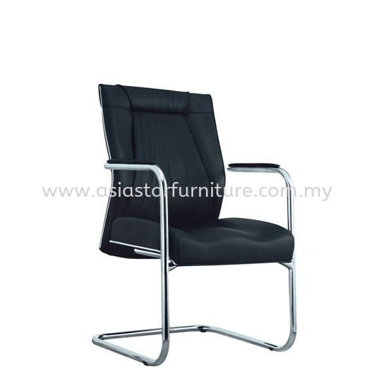 JESSI II DIRECTOR VISITOR LEATHER CHAIR C/W CHROME TRIMMING LINE
