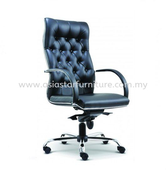 MORE DIRECTOR HIGH BACK LEATHER OFFICE CHAIR WITH CHROME TRIMMING LINE - director office chair bukit gasing | director office chair old klang road | director office chair serdang