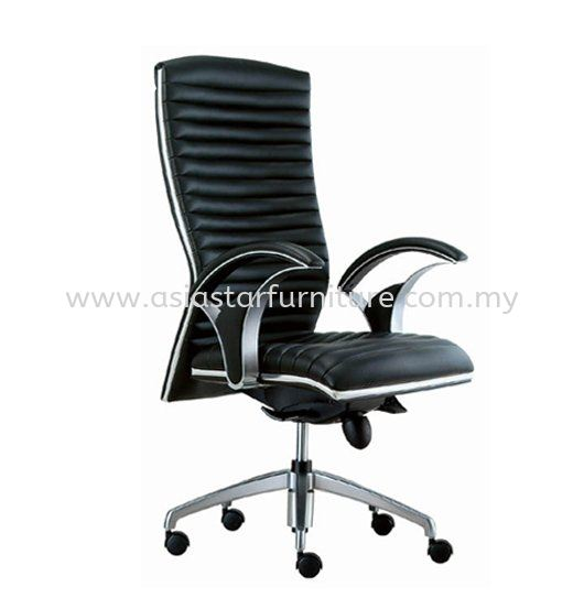 ZINGER DIRECTOR HIGH BACK LEATHER CHAIR C/W CHROME TRIMMING LINE