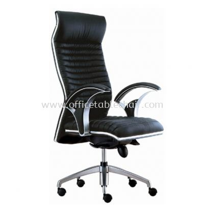 ZINGER CURVE DIRECTOR HIGH BACK LEATHER CHAIR C/W CHROME TRIMMING LINE