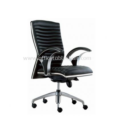 ZINGER DIRECTOR MEDIUM BACK LEATHER CHAIR C/W CHROME TRIMMING LINE