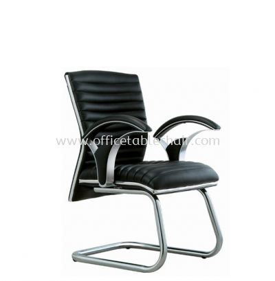ZINGER DIRECTOR VISITOR LEATHER CHAIR C/W CHROME TRIMMING LINE