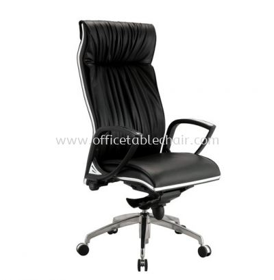 VITTA DIRECTOR HIGH BACK LEATHER CHAIR C/W CHROME TRIMMING LINE