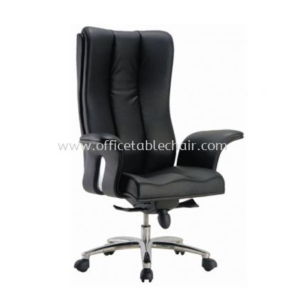 SPRING DIRECTOR HIGH BACK LEATHER CHAIR C/W ALUMINIUM DIE-CAST BASE