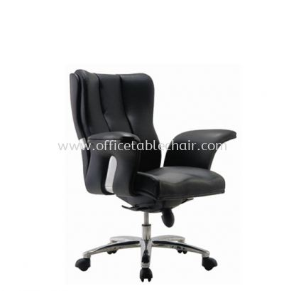 SPRING DIRECTOR LOW BACK LEATHER CHAIR C/W ALUMINIUM DIE-CAST BASE