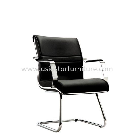 EMAXIN(B) DIRECTOR VISITOR LEATHER CHAIR C/W CHROME TRIMMING LINE