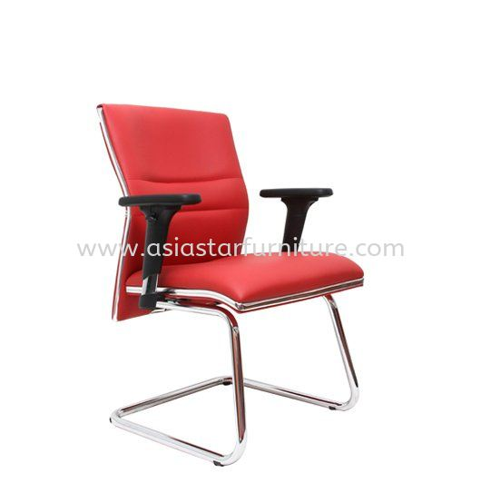 ZOLO(B) DIRECTOR VISITOR LEATHER CHAIR C/W CHROME TRIMMING LINE