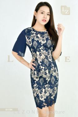 81194 PLUS SIZE LACE OVERLAY DRESS【30% 40% 50%】