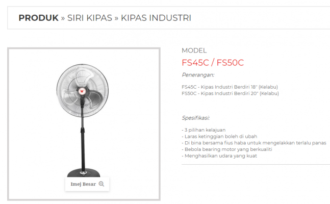 "CROWN FS45C 18"" INDUSTRIAL STAND FAN (GRAY COLOR)"