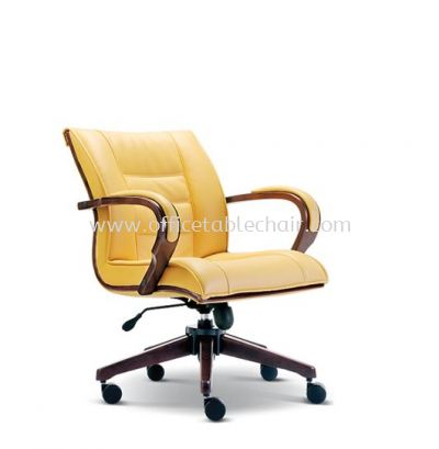 SAB DIRECTOR LOW BACK LEATHER CHAIR WITH WOODEN TRIMMING LINE