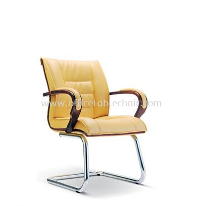 SAB DIRECTOR VISITOR LEATHER CHAIR WITH WOODEN TRIMMING LINE