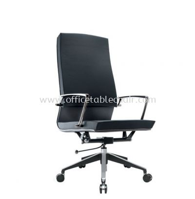 NIDOZ EXECUTIVE HIGH BACK LEATHER CHAIR WITH CHROME TRIMMING LINE
