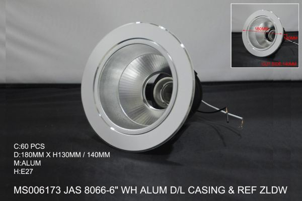 MS006173 JAS 8066-6 WH ALUM DOWN LIGHT CASING & REF ZLDW