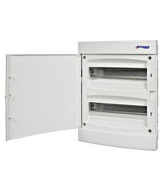 Flush-mounting PVC 2-row Enclosure, 24MW, white door