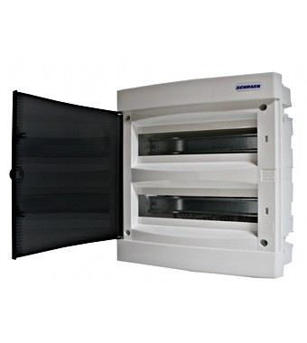 Flush-mounting PVC 2-row Enclosure, 36MW, transparent door