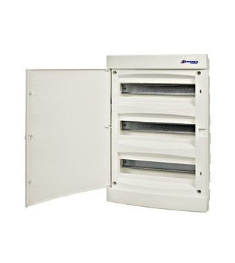 Flush-mounting PVC 3-row Enclosure, 54MW, white door