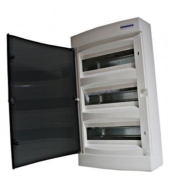 Wall-mounting PVC 3-row Enclosure, 54MW, transparent door