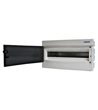Flush-mounting PVC 1-row Enclosure, 18MW, transparent door
