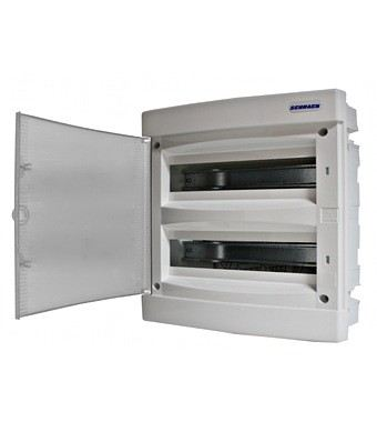 Flush-mounting PVC 2-row Enclosure, 36MW, white door