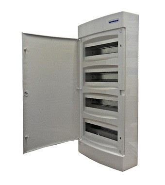 Wall-mounting PVC 4-row Enclosure, 48MW, white door