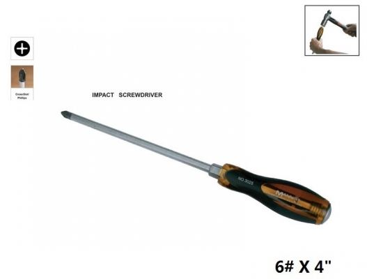 "MN  B   6# X 4"" (+) SLOTTED IMPACT SCREWDRIVER -  00730K"