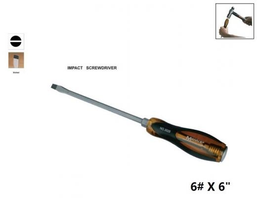 "MN 6# X 6"" (---) SLOTTED IMPACT  SCREWDRIVER - 00730N"