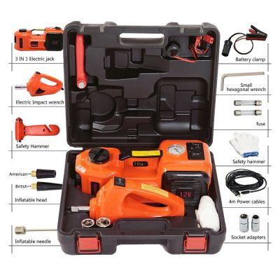 12V DC 5T 3-in-1 Auto Car Electric Hydraulic Floor Jack Lift and Impact Wrench Orange