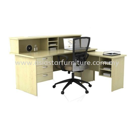 RECTANGULAR TABLE OFFICE WOODEN BASE C/W COUNTER TOP WITH SIDE TABLE & HANGING PEDESTAL