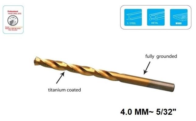 """4.0 MM~ 5/32"""" TITANIUM JOBBER DRILL BIT - 00728C"""